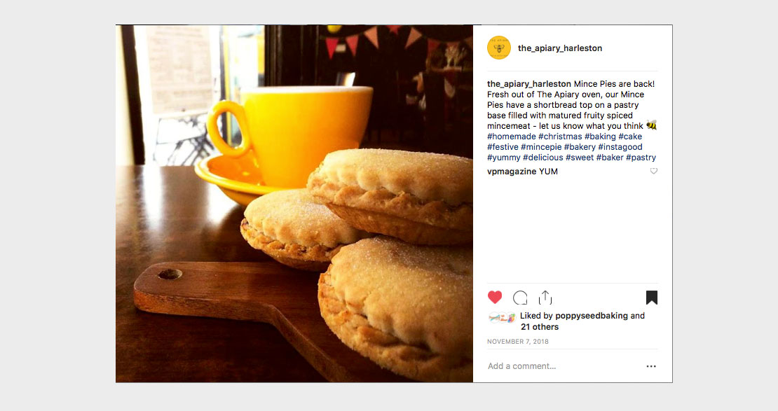 Social media post for The Apiary Cake & Coffee House created by ad agency Greenwood&Bell in Norfolk