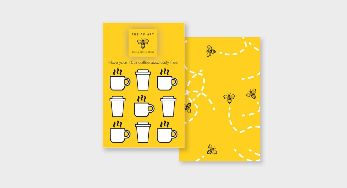 Coffee shop loyalty cards for The Apiary Cake & Coffee House designed by marketing agency Greenwood&Bell
