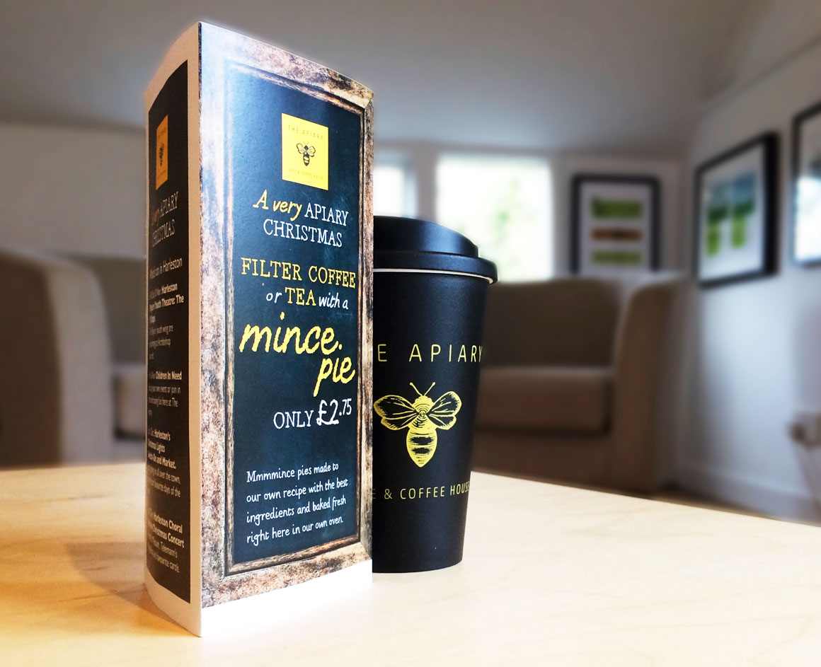 Point of sale (POS) for The Apiary Cake & Coffee House created by Norfolk advertising agency Greenwood&Bell