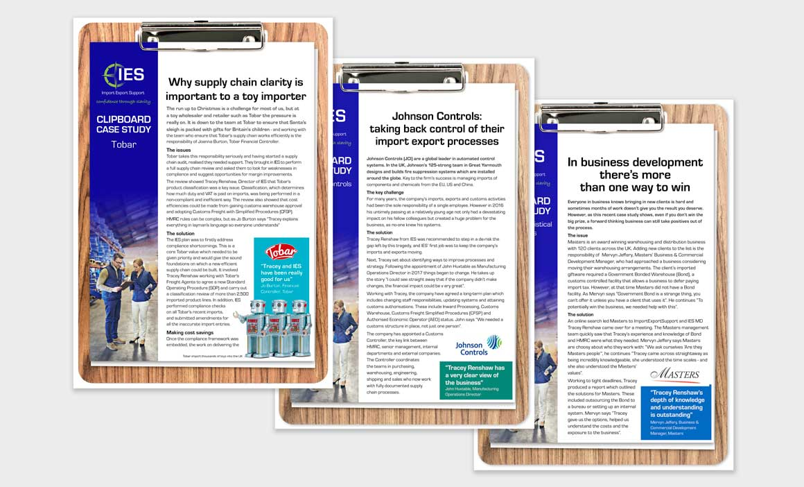 Clipboard case studies for Norwich consultancy Import Export Support designed by ad agency Greenwood&Bell
