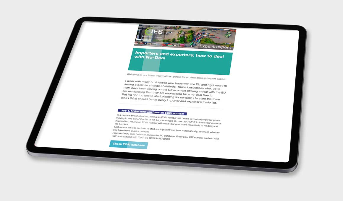 Image of an iPad showing an email for Norwich consultancy Import Export Support created by agency Greenwood&Bell