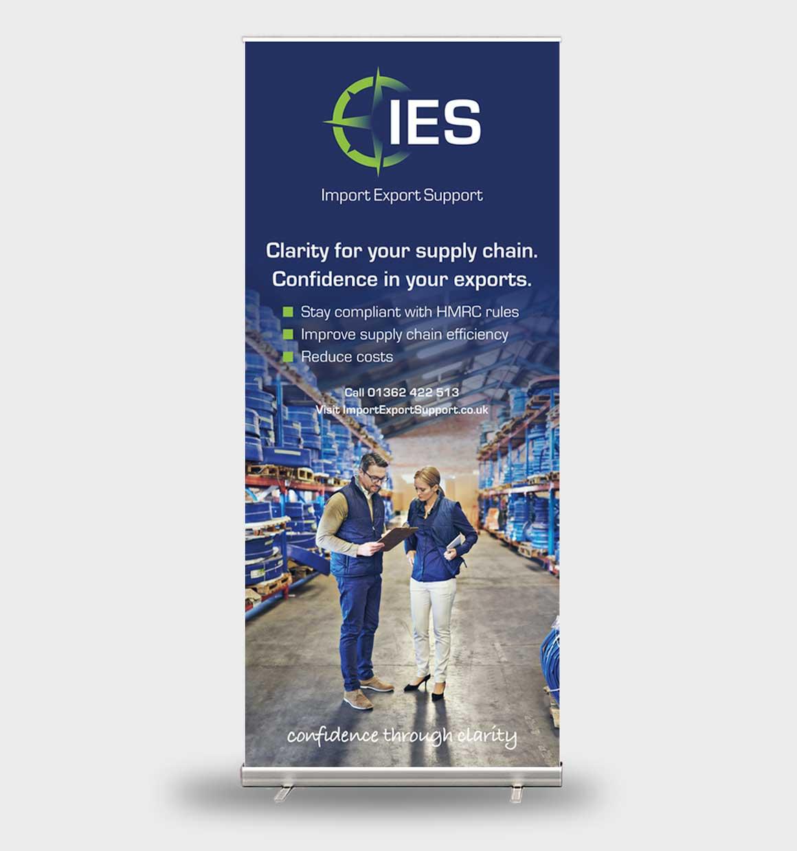 Pull up banner for Norwich consultancy Import Export Support showing warehouse designed by Greenwood&Bell