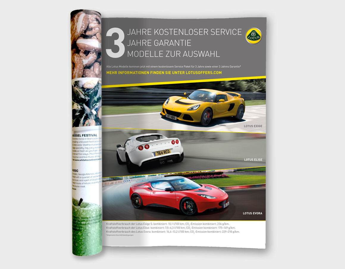 Press ad for Lotus cars in Germany designed by ad agency Greenwood&Bell based in Norfolk