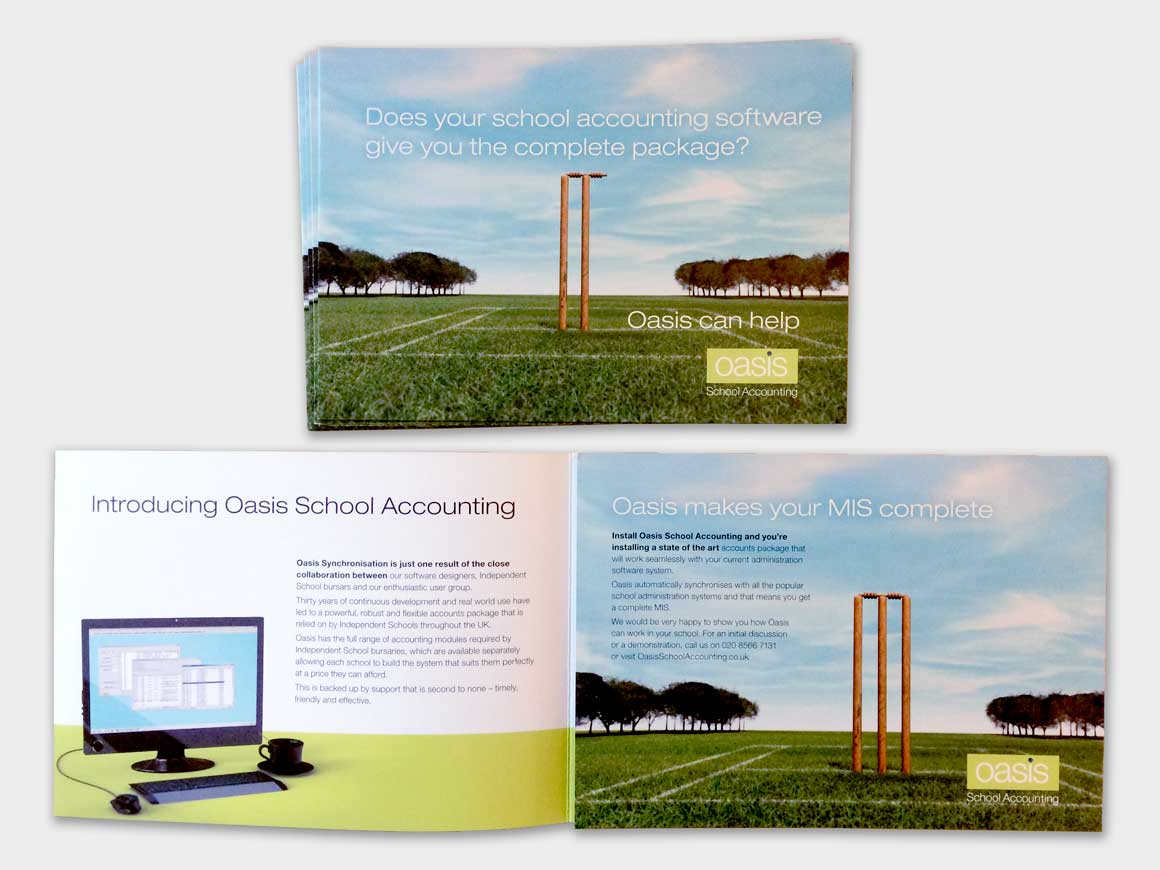 Brochure for Oasis School Accounting showing impossible cricket stumps from marketing agency Greenwood&Bell