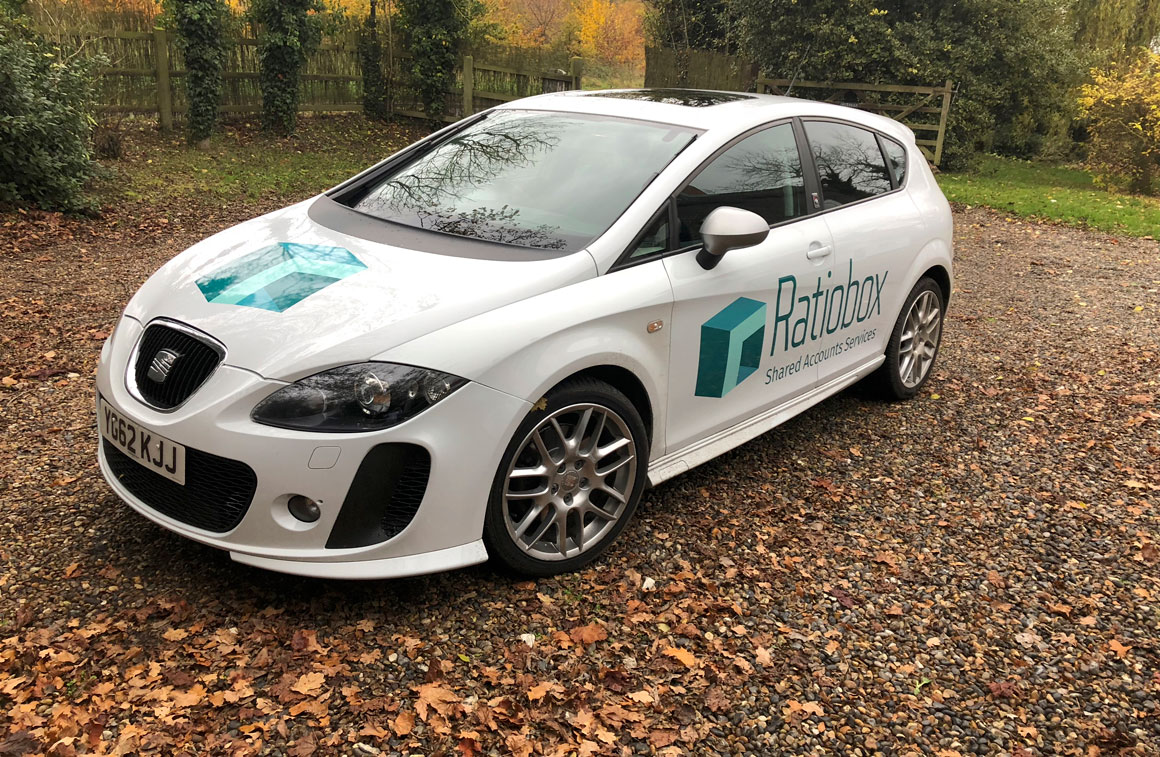 Ratiobox car parked in woods with livery designed by identity design specialists Greenwood&Bell based near Norwich