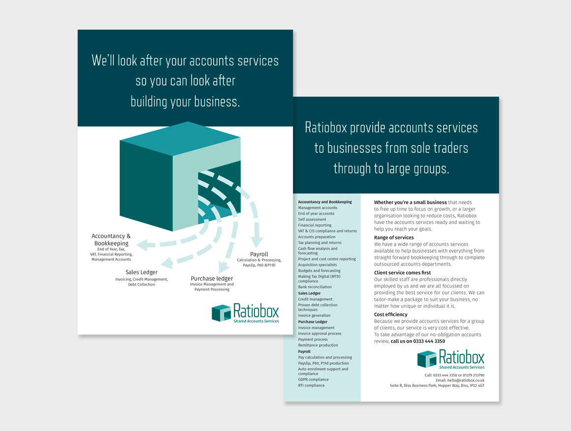 Leaflet for Norfolk accountancy services company Ratiobox created by marketing agency Greenwood&Bell
