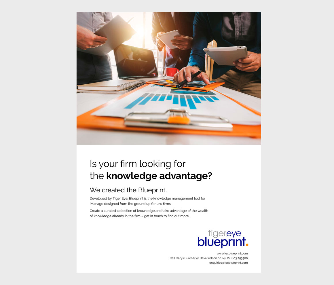 Leaflet headlined 'Knowledge advantage' designed for Norwich based Tiger Eye by ad agency Greenwood&Bell