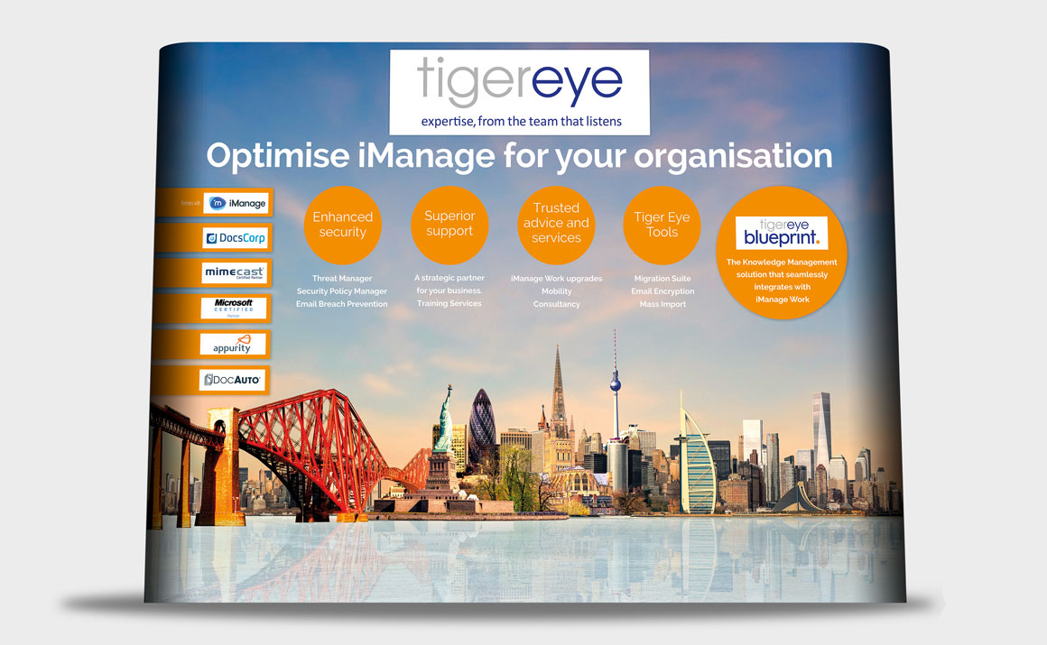 Exhibition Stand headlined 'Optimise iManage' designed for Norwich based Tiger Eye by marketing agency Greenwood&Bell