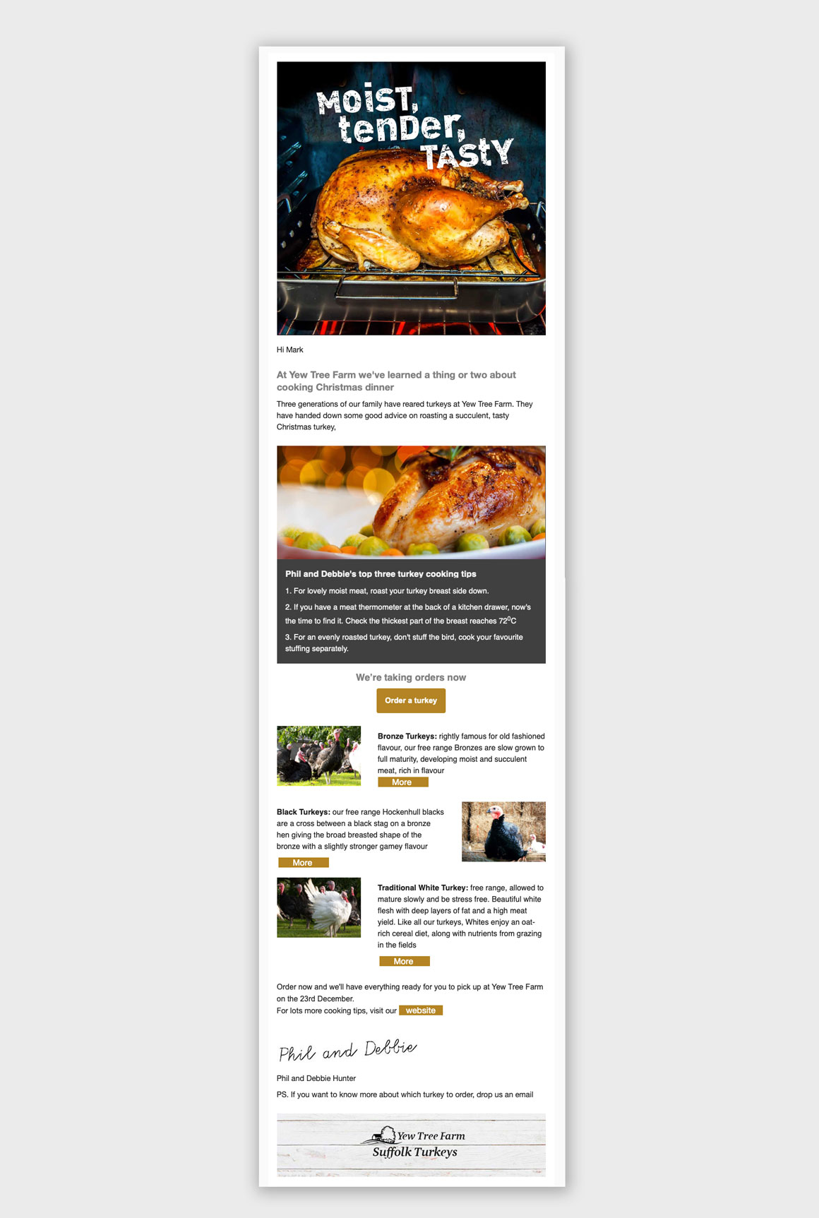 Email for Yew Tree Farm's Turkeys headlined 'Moist, tender, tasty' created by email marketing agency Greenwood&Bell