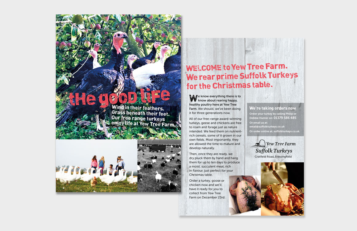 Leaflet for Yew Tree Farm headlined 'The Good Life' created by Norfolk advertising agency Greenwood&Bell