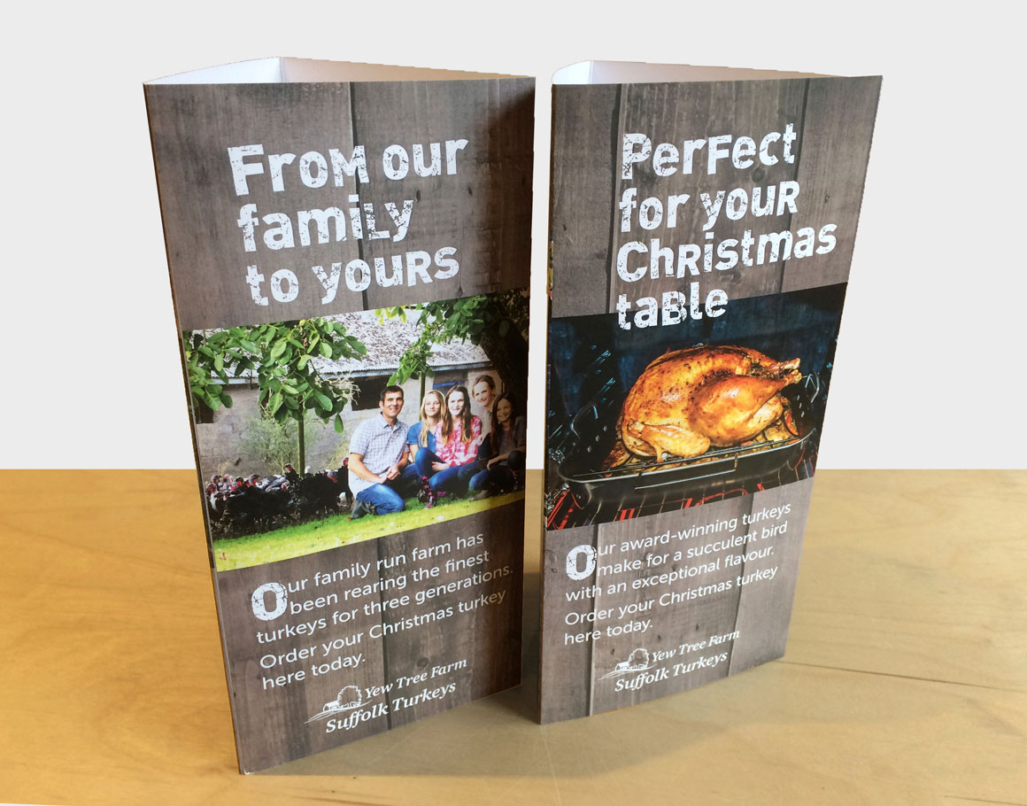 Point of sale for Yew Tree Farm's Turkeys headlined 'Perfect for your Christmas table' created by agency Greenwood&Bell