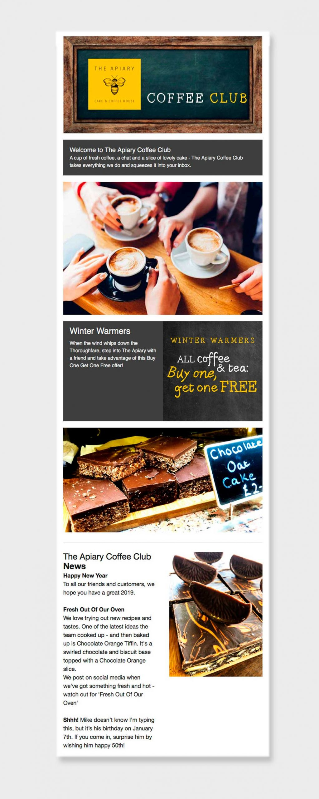 Email for The Apiary Cake & Coffee House 'Coffee Club' created by Norfolk email marketing agency Greenwood&Bell