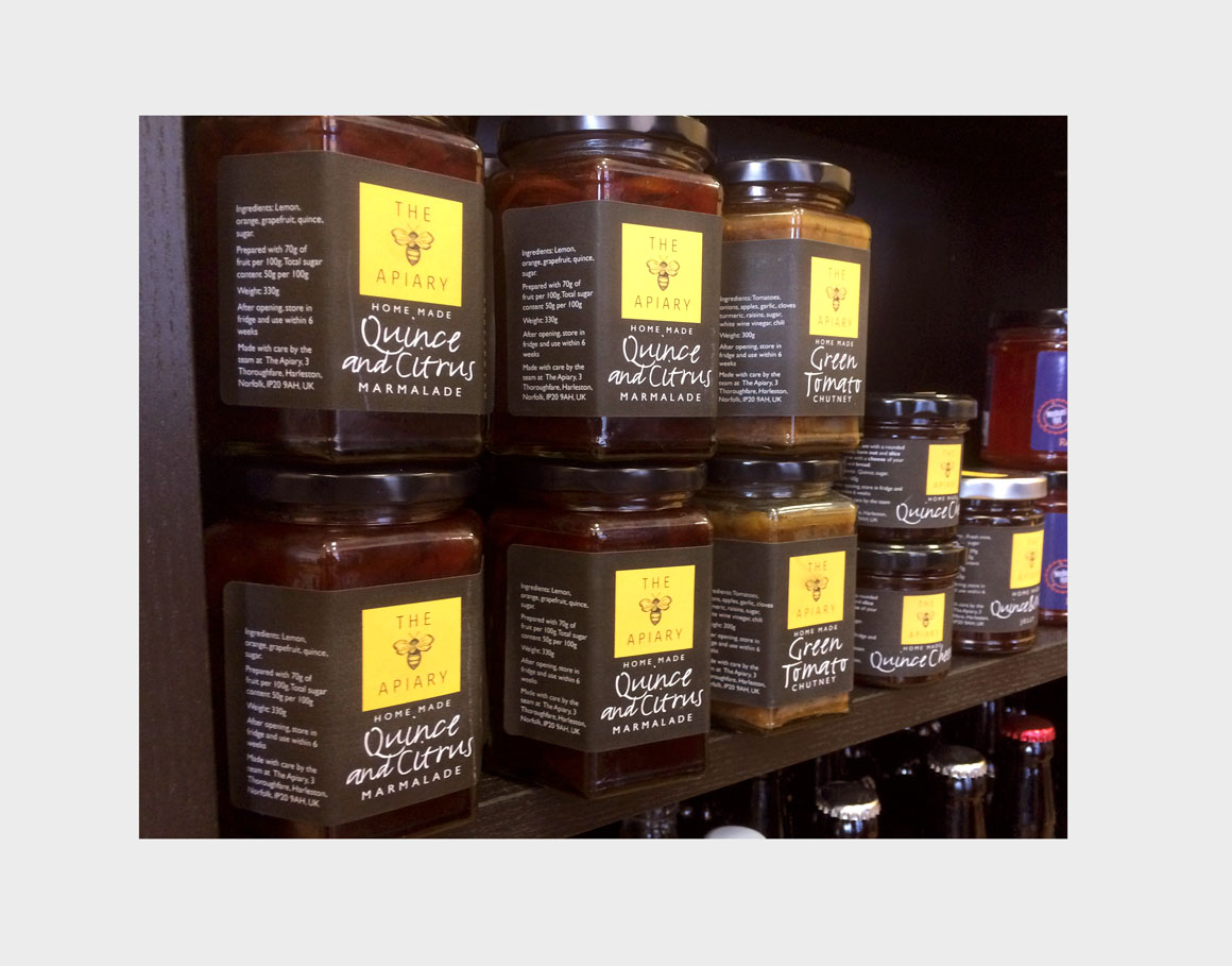 Packaging designs for The Apiary Cake & Coffee House Chutney jars by design agency Greenwood&Bell