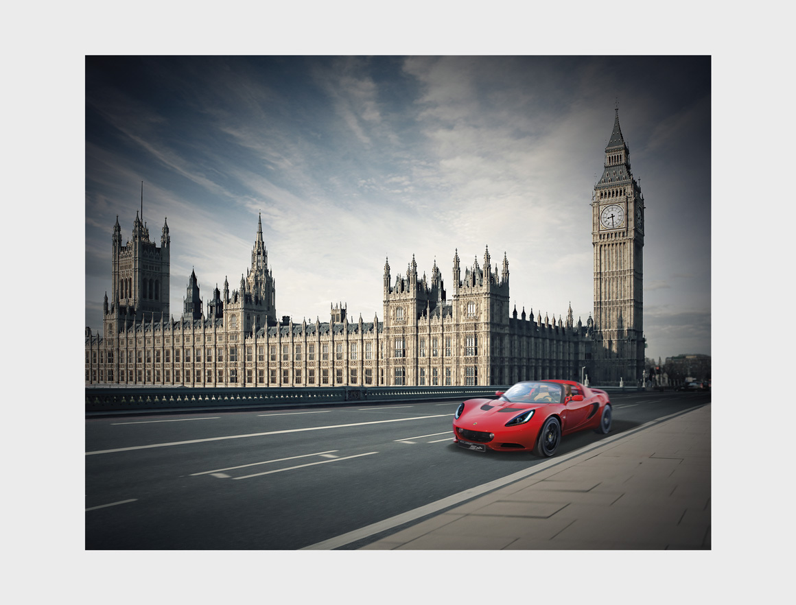 Lotus Elise next to Big Ben, image to promote Lotus in China created by Norfolk marketing agency Greenwood&Bell