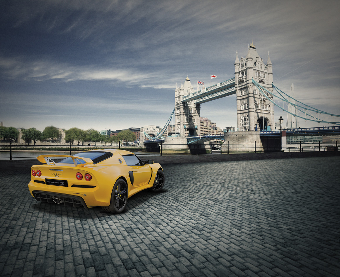 Lotus Exige next to Tower Bridge, image to market cars in China created by Norfolk design agency Greenwood&Bell