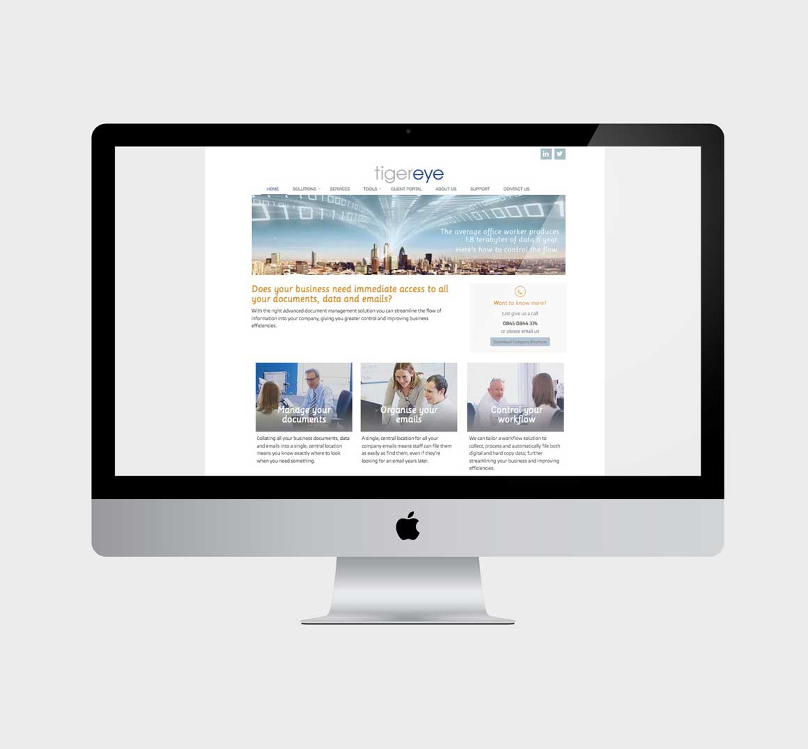 Website displayed on iMac for Norwich IT company Tiger Eye created by Norfolk marketing agency Greenwood&Bell