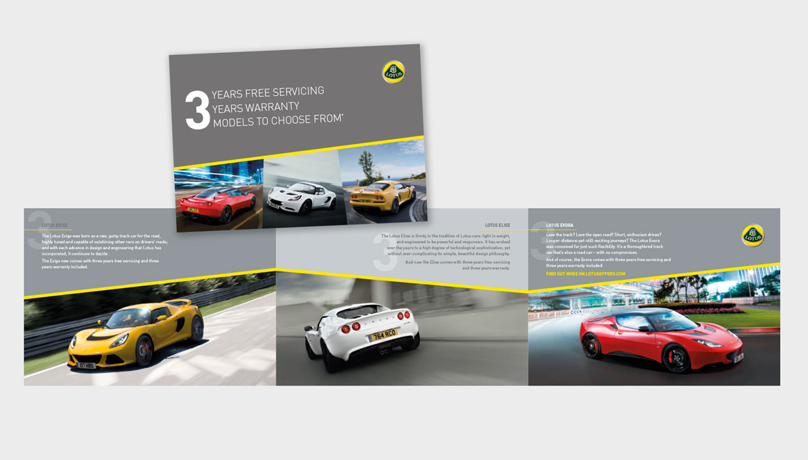Direct Mail for Lotus cars designed by advertising agency Greenwood&Bell based in Norfolk